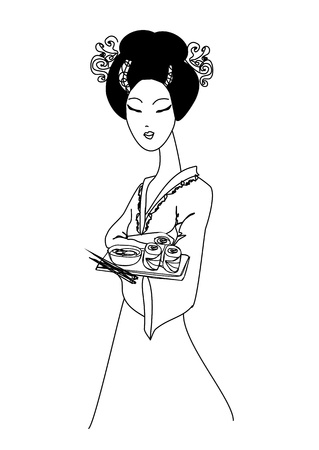 beautiful Asian girl enjoy sushi - doodle illustration  Vector