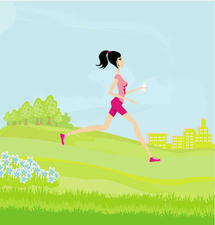 Jogging girl in summer Stock Vector - 12743952