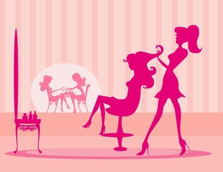 Vector illustratie van de mooie vrouw in schoonheidssalon