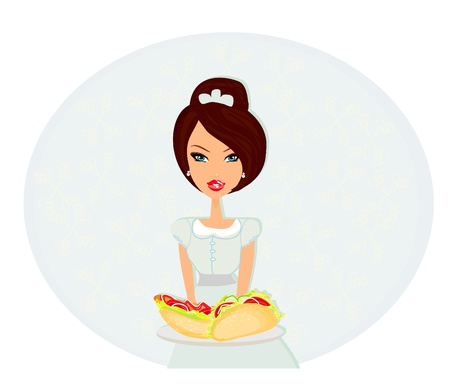 serving tray: beautiful waitress with a tray   Illustration