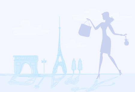 fashion girl Shopping in Paris  Vector