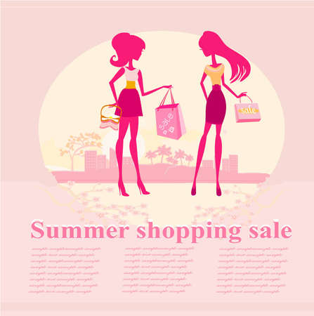 fashion silhouettes girls Shopping in the city - Summer shopping sale