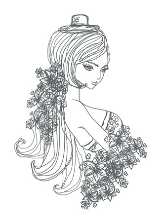 retro model: Abstract Beautiful Woman doodle Portrait
