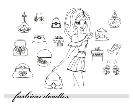 bead jewelry: Fashion shopping icon doodle set