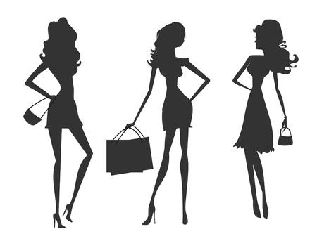 fashion shopping: Vector siluetas de moda las ni�as de compras