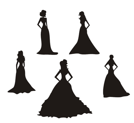 long night: Bride silhouettes set