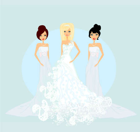 evening gown: Bride with bridesmaids