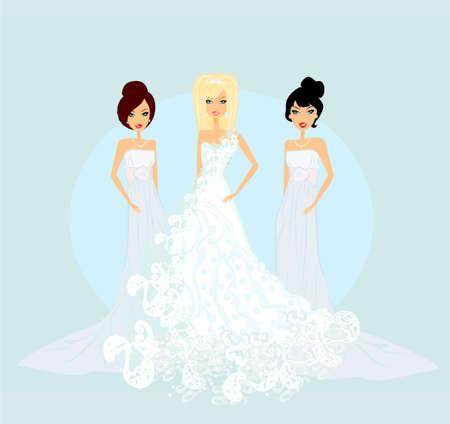 Bride with bridesmaids  Vector