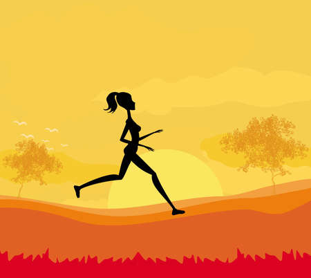 Jogging girl in sunset Stock Vector - 12744000