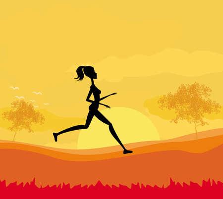Jogging girl in sunset