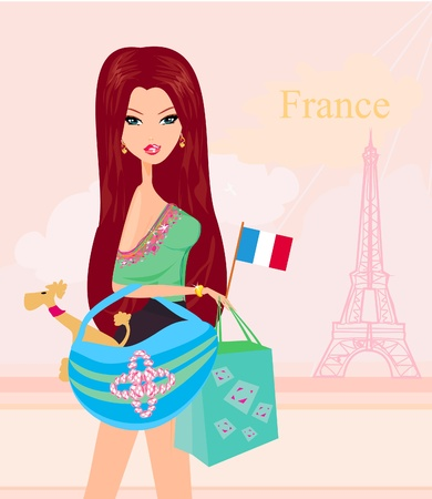 beautiful travel girl in Paris  Vector