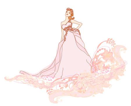 bridesmaid: Beautiful bride - doodle illustration