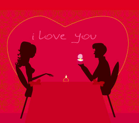 man proposing with an engagement ring to his love in a restauran Vector