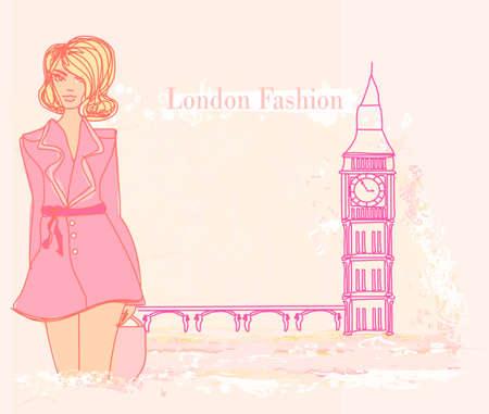 Beautiful woman in London Vector