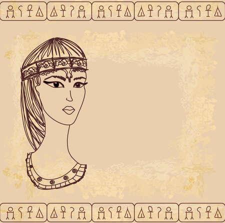 hieroglieven: oud papier met Egyptische koningin