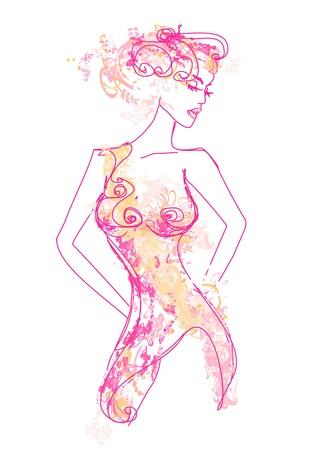 抽象的な美しい女性のポスター  イラスト・ベクター素材