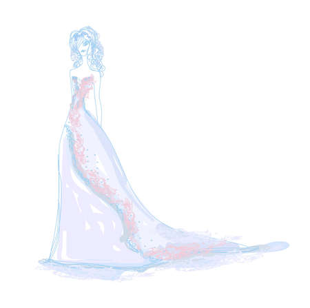 evening dress: Beautiful bride - doodle illustration