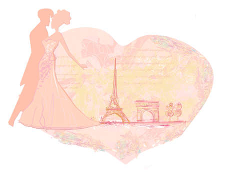 Romantic couple in Paris Vector
