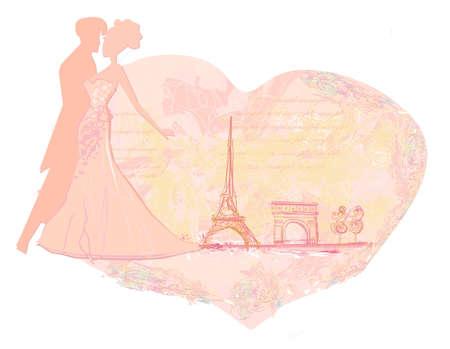outdoor wedding: Romantic couple in Paris