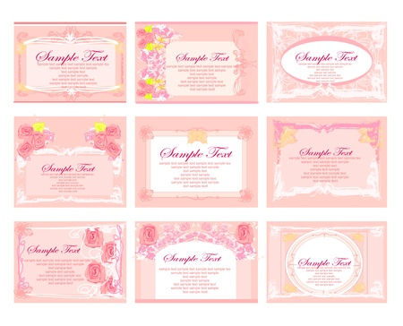 pink business floral card set Stock Vector - 12744343