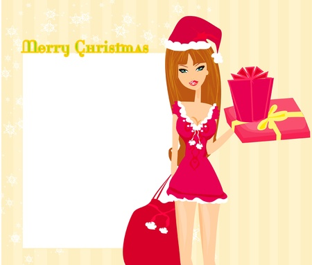 party outfit: beautiful pin-up girl in Christmas inspired costume  Illustration
