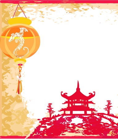 pagoda: old paper with Asian Landscape and Chinese Lanterns - vintage japanese style background  Illustration