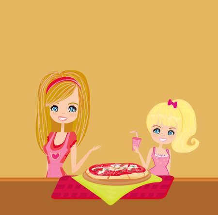 Housewife serving pizza  Vector