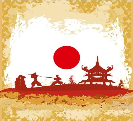 old paper with Samurai silhouette