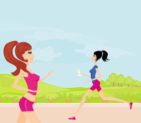 Jogging girls in summer Stock Vector - 12744367