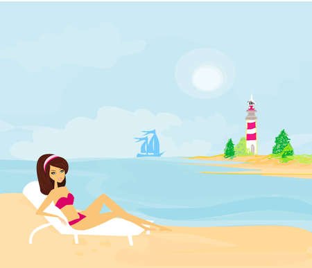 summer beach girl  Vector