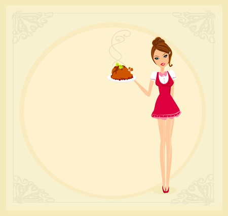 lunch tray: Beautiful Waitress serving a chicken  Illustration