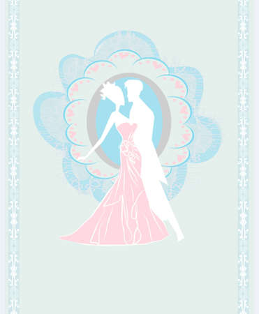 wedding dancing couple invitation  Vector