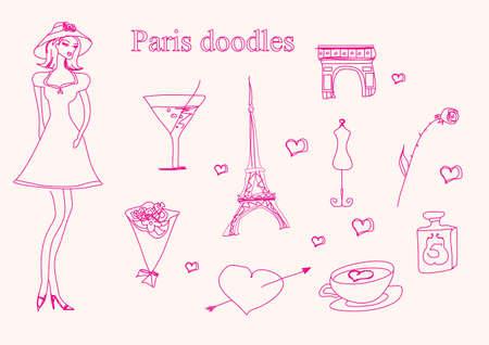 Pariser Mode Doodles gesetzt