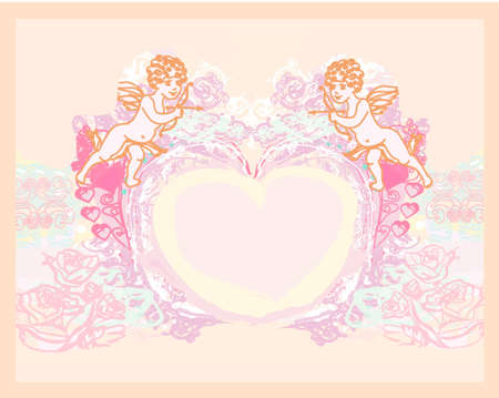 happy valentines day card with cupid Stock Vector - 12744430