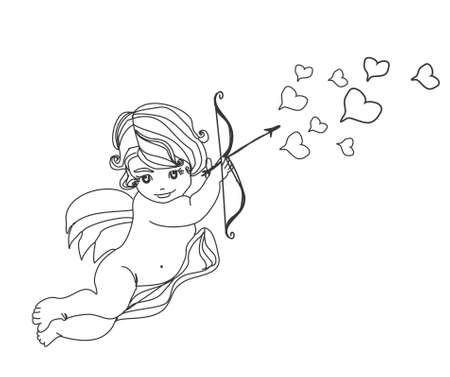 little cupid is ready to shoot love arrow  Stock Vector - 12744399