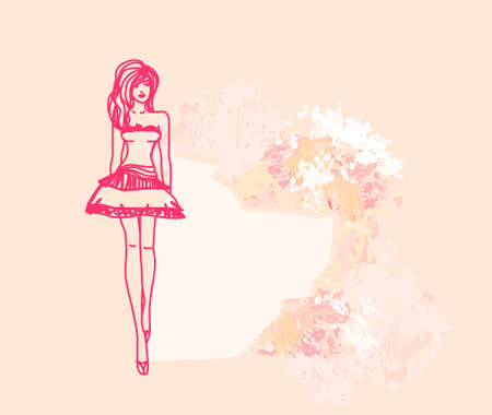 fashion girl Shopping - doodle background  Vector