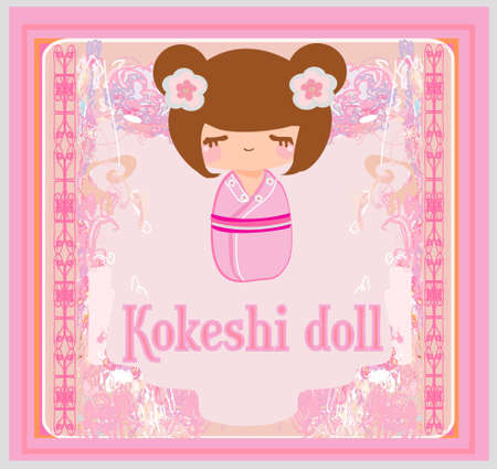 Kokeshi doll on the pink background with floral ornament Stock Vector - 12744434