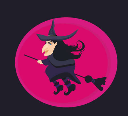 cartoon wicked witch flying on a broomstick Vector