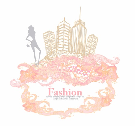shoptalk: fashion girl Shopping - doodle illustration Illustration