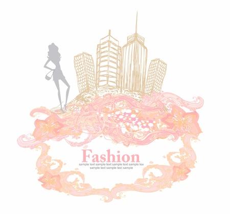 fashion girl Shopping - doodle illustration Illustration