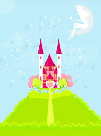 fairy flying above castle Stock Vector - 12744496