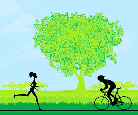 bicycler: silhouette of marathon runner and cyclist race Illustration