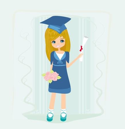 toga: Illustrazione di un Kid Tenendo il diploma