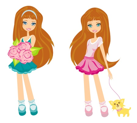fashion  girls set Vector