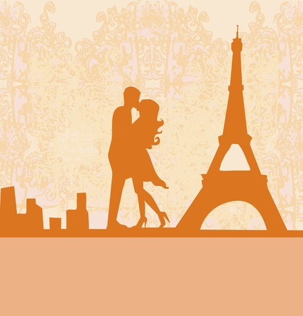 Romantic couple in Paris kissing near the Eiffel Tower Retro card Stock Vector - 12744500