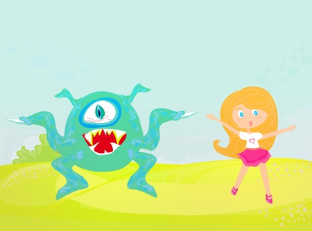 monster and girl  Vector
