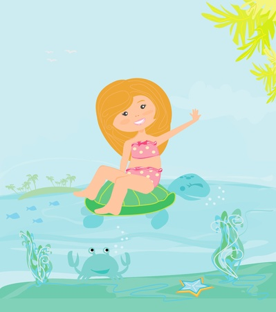 sweet happy little girl on the beach  Vector