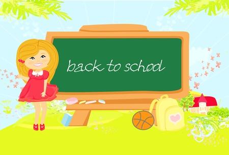 illustration of back to school girl