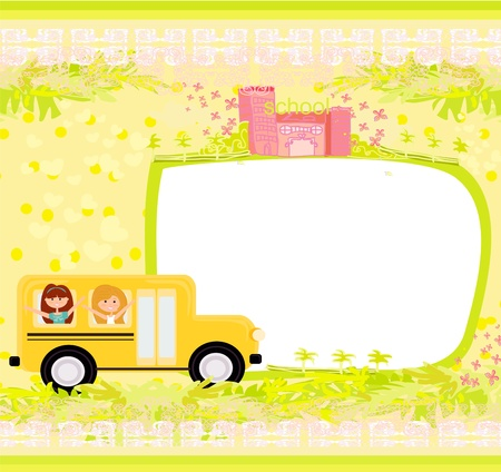 commencement exercises: a school bus heading to school with happy children  Illustration