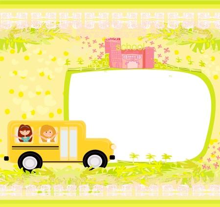 a school bus heading to school with happy children  Vector